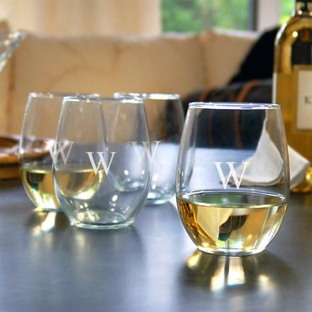 Tory Monogrammed Wine Glass (Set of 4)
