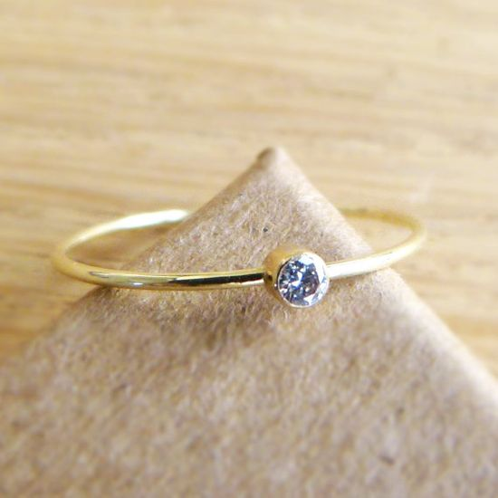 Diamond Engagement Ring  Diamond Gold Ring  14k Solid by artemer, $152.00