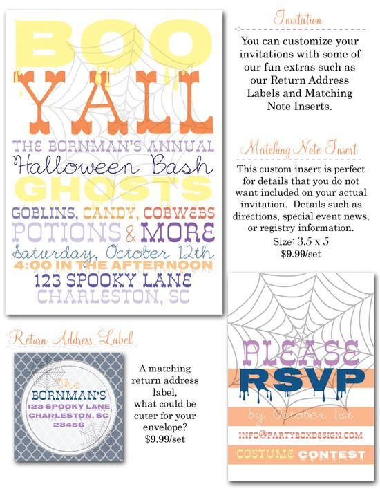 halloween party, halloween party invites, halloween, sourthern halloween, halloween party decor, cobwebs, fall party invites via Party Box Design