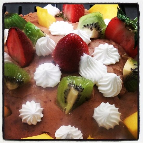 Chocolate cake and fruits