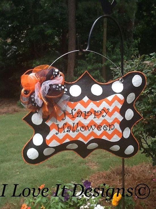 Happy Halloween Burlap Door Hanger by ILoveItDesigns