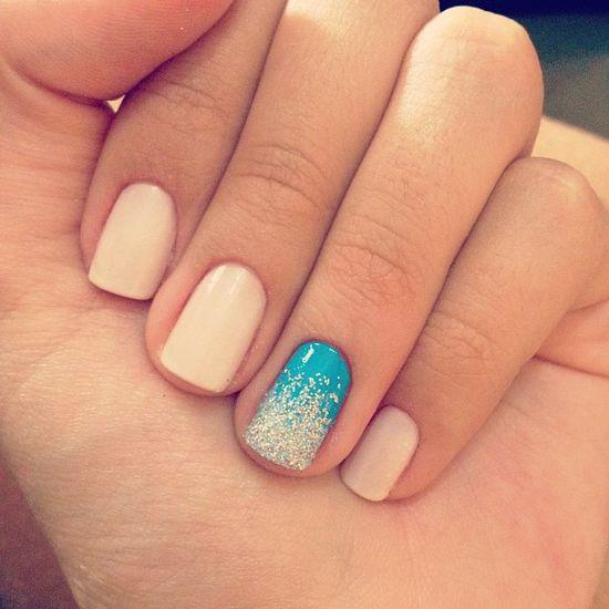 nude nails + gradient accent.  #mani #nails #manicure #Essie #OPI #ChinaGlaze -short nails -real nails - nail polish - sexy nails - pretty nails - painted nails - nail ideas - mani pedi - French manicure - sparkle nails -diy nails