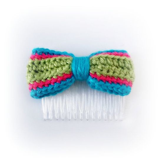 Crocheted Bow Hair Comb Side CombGreen Pink Aqua  by PowersOfLove, $5.50 #handmade #bow #hair
