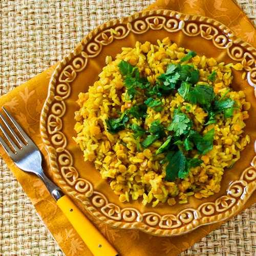 Recipe for Curried Rice and Red Lentils [from Kalyn's Kitchen] #SouthBeachDiet #lowglycemic #glutenfree #lentils #vegetarian