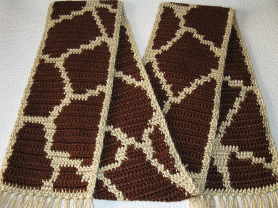 Giraffe Print  Crochet Scarf