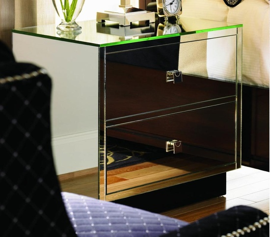 Trump Mirrored Nightstand Courtesy of InStyle-Decor.com Beverly Hills Inspiring & Supporting Hollywood interior design professionals and fans, sharing beautiful Luxe Home Decor Inspirations, Designer Furniture, Table Lamps, Mirrors & Decorative Accents. Trending 1st in Hollywood, Your Welcome To: Repin, Share & Enjoy