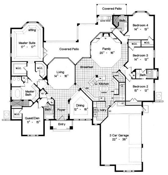 One story floor plan - nice plan with a lot of rooms!