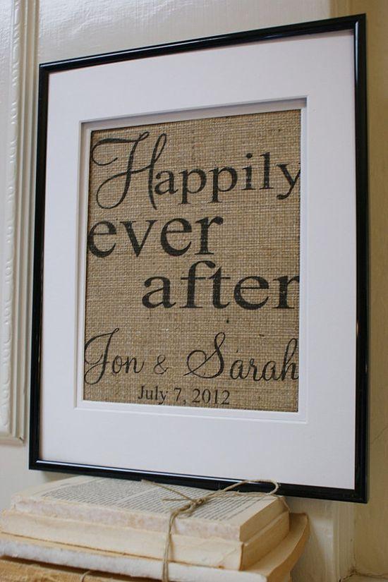 Great wedding gift!   Burlap framed