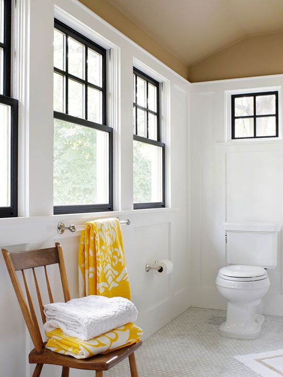 black windows and white walls - I love this combination!