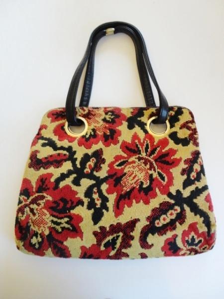 Vintage 1960s Floral Carpet Bag Purse with Leather Straps