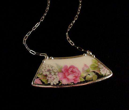 Rose floral antique porcelain china broken plate necklace