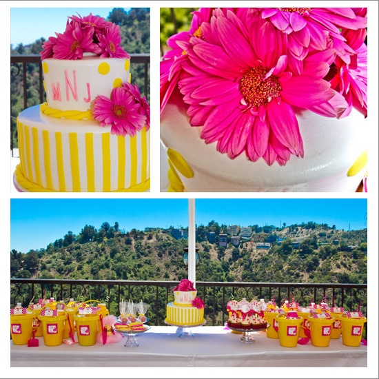 yellow and pink cupcake party