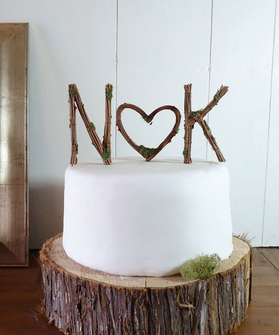 Rustic Wedding Cake Topper - Any Two Vine Letters with Heart. $52.00, via Etsy.