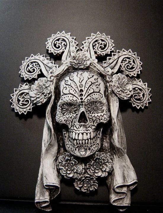 Dia de los Muertos White Finish by Dellamorteco on Etsy, $30.00