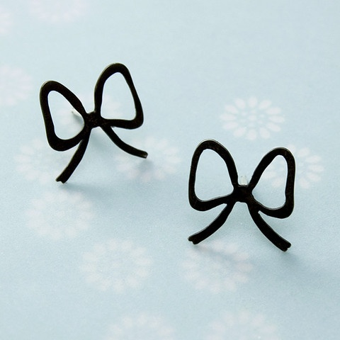 Handmade bow earrings - blackened sterling silver