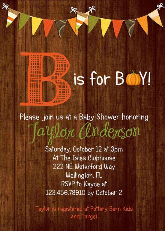 Rustic Wood Fall Baby Boy Shower Invitation Pumpkin by 3PeasPrints