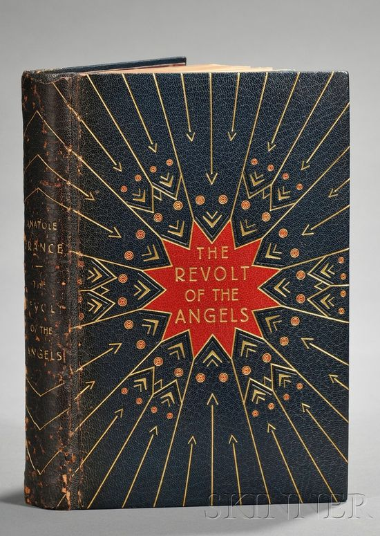 The Revolt of The Angels, Anatole France (1844-1924), London: John Lane The Bodley Head Limited, 1928.  Decorative binding by G. Crette; illustrations by Frank C. Pape.