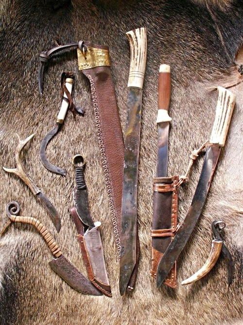 An ensemble of hand-made knives