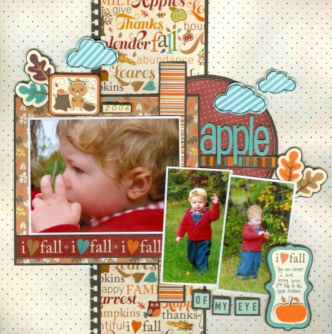 Apple of my eye - Scrapbook.com - Beautiful colors in the photos, just pull right into the wonderful papers and embellishments used on this layout. #scrapbooking