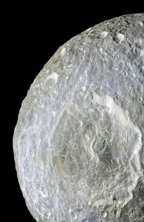 Saturn's Moon Mimas. Flyby photos taken by Cassini spacecraft.