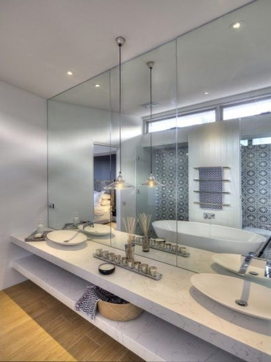 Surprising Modern Home Design with Beach Inspiration: Bright Bathroom Interior Floating Vanity Modern Home In