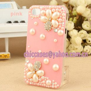 iPhone 5 case - bling iphone 4case - pearl iphone 5 case with 3D pearl flower