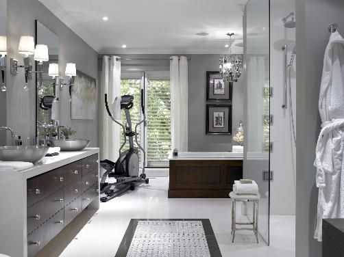 bathrooms - brown white gray mosaic marble tiles espresso stained modern bathroom cabinets crystal chandelier tub chic chrome sconces stool white grommet drapes curtains hammered metal vessel sink frameless glass shower gray walls paint color bathroom