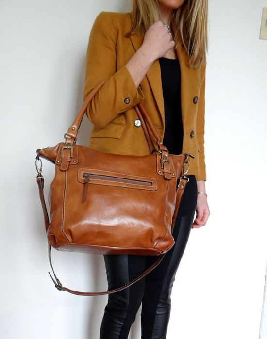 Juana Tan Leather Tote by Bellinileather on Etsy, $170.00