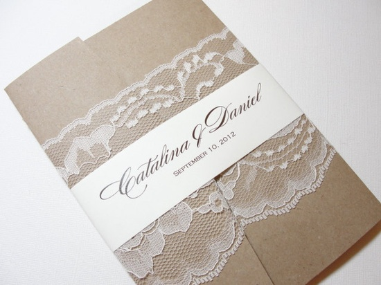 Rustic Lace Wrapped Wedding Invitation