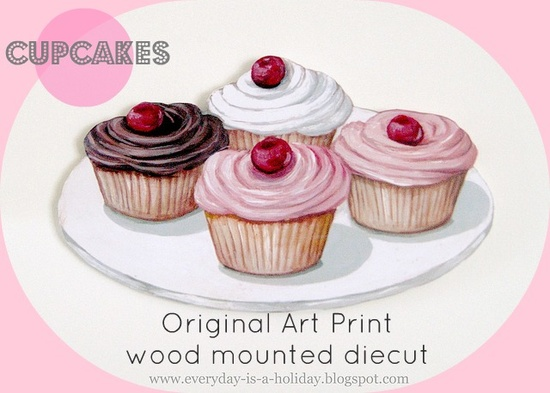 Vintage inspired cherry topped cupcakes original art print wood mounted diecut #sign #kitchen #bakery #retro #vintage #pink