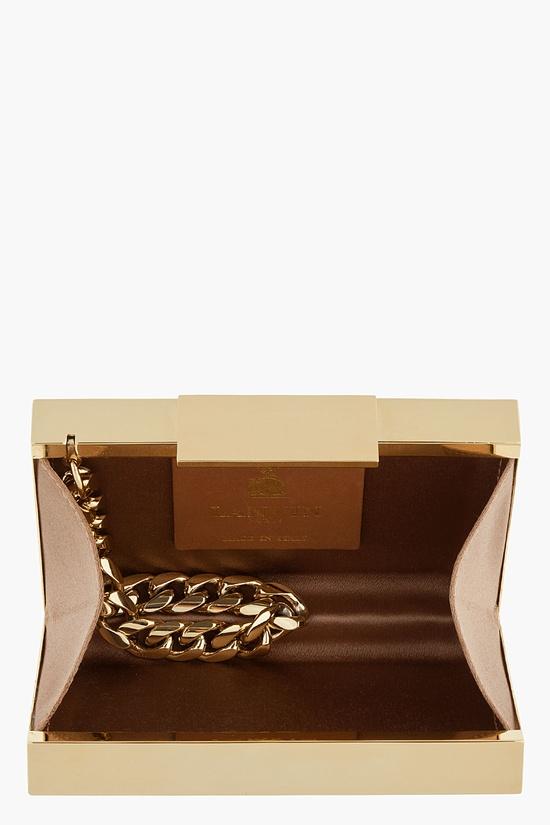 LANVIN Gold Rectangular Mirror Box Clutch