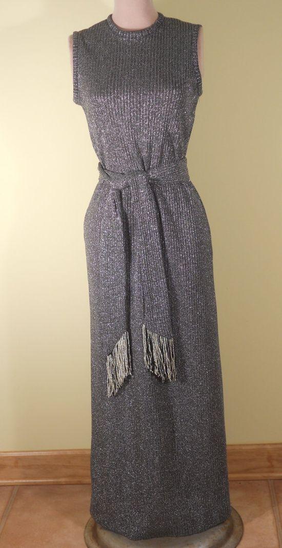 1960's Vintage Silver Knit Dress