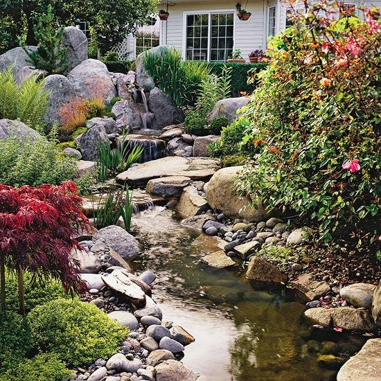 Use the natural slope of a backyard for a relaxing waterfall! See more dream water gardens: www.bhg.com/...