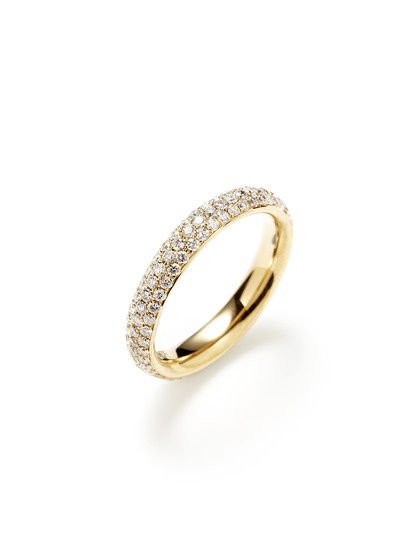 Piranesi 1.27 Total Ct. Pave Diamond & Gold Triple Row Band Ring