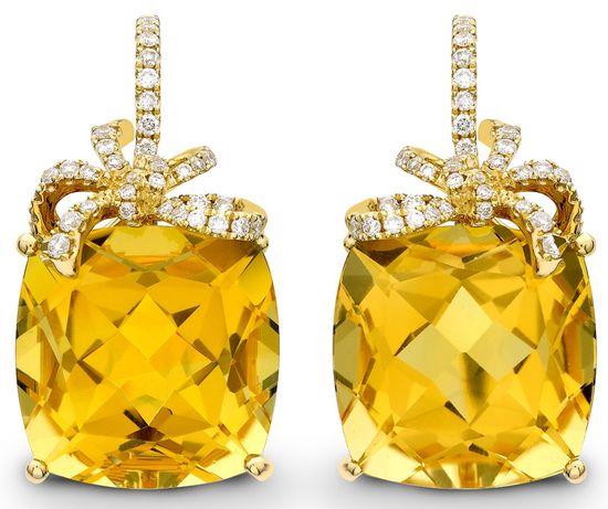 Kiki McDonough. Citrine and diamond Cushion Bow earrings.
