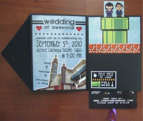 interactive 8-bit wedding invites