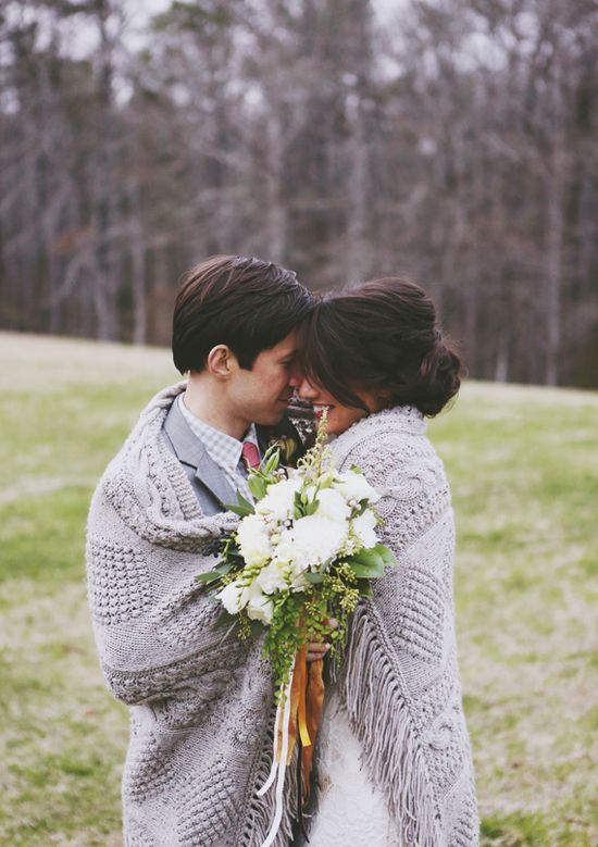 I'm not too worried about getting a ton of posed shots, but this is way too cozy to skip! Woodland wedding inspiration