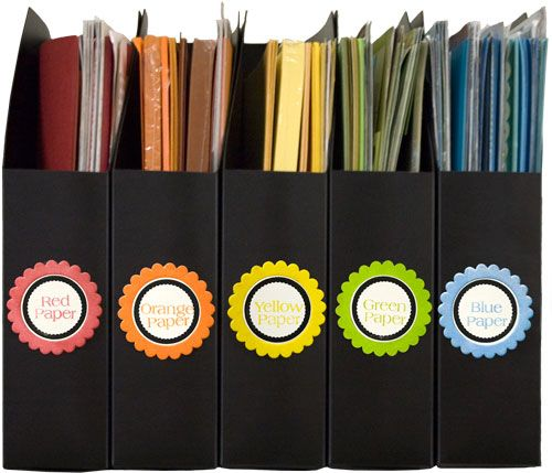 Organized and Inspired Paper Organization - Scrapbook.com - Color code your scrapbooking papers. #scrapbooking #diy #organization #storage