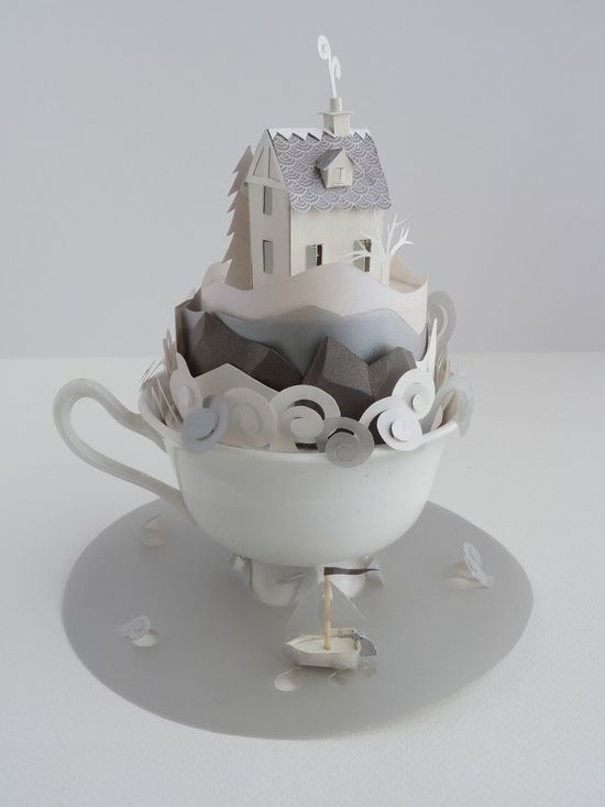 So inspiring!! Teacup with paper house