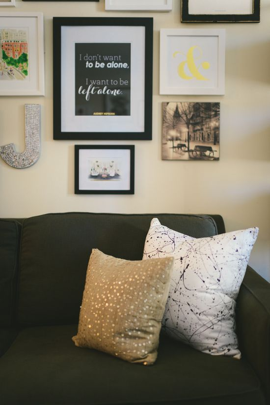 Jacqueline Clair's NYC Studio Tour // home // decor // #studio // decorating on a #budget // living room // couch // pillows // gold // Photography by Kate Ignatowski