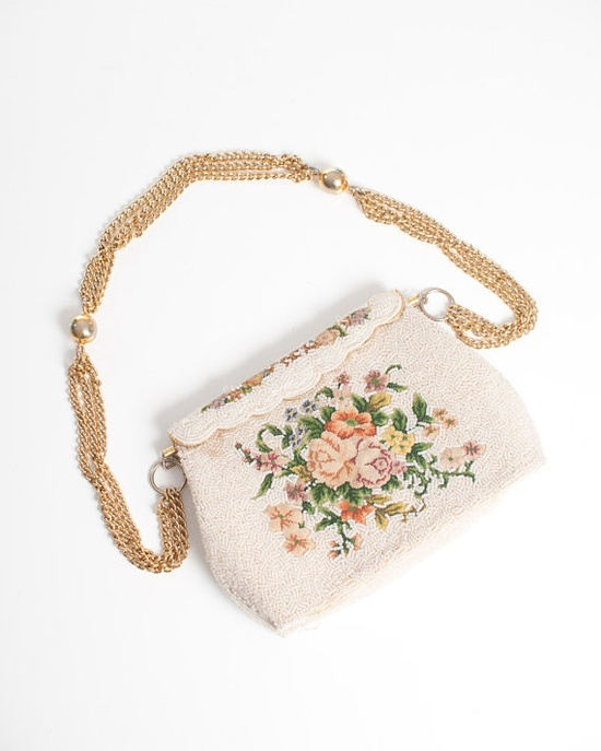 WANT Vintage 50's Beaded and Embroidered Floral Purse by NewmanHall, $52.00