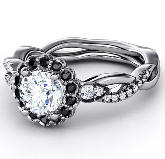 Engagement Ring - Black Diamond Halo Engagement Ring Twisted Pave Band in  White Gold - ES1002