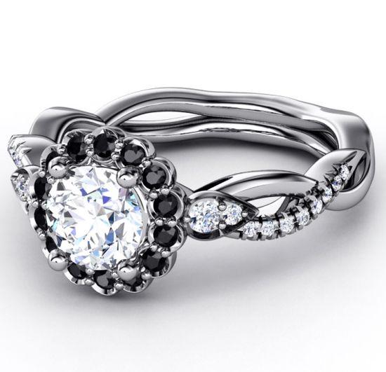 Black Diamond Halo Engagement Ring Twisted Pave Band