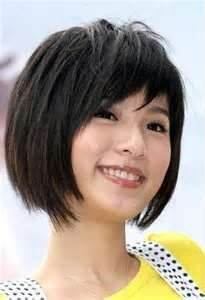 short hair styles with bangs round face