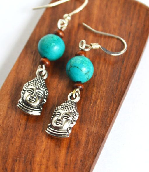 Buddha  Earrings Yoga Wood and Turquoise Jewelry by LOVEnLAVISH, $17.00