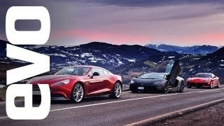 Ferrari F12 vs Lamborghini Aventador vs Aston Martin Vanquish - evo review, via YouTube.