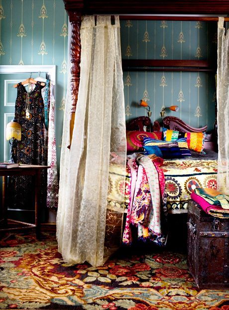 Great colours. Bohemian bedroom