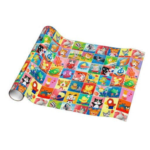 wrapping paper colorful baby animals collage