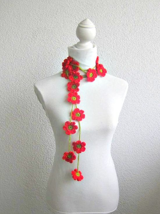 Crochet lariat scarf with Flower in Red Green  by Iovelycrochet, $27.00