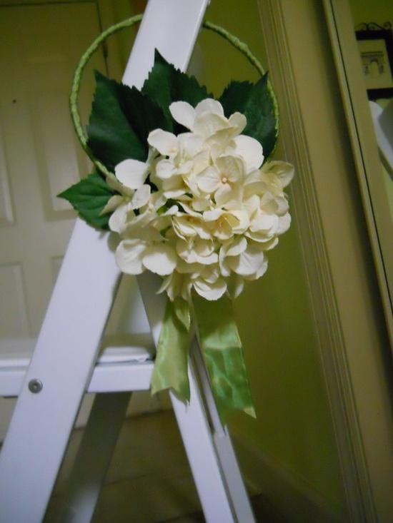 White Hydranga Wedding Chair Aisle Hanger $12.99